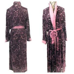 Purple Silk Cabernet Size L Burnout Long Robe